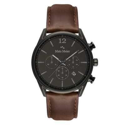 Mats Meier Grand Cornier Chrono Gunmetal/Donkerbruin horloge MM00104
