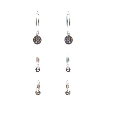 Karma Earparty 925 Sterling Zilveren Symbols and Coin Oorbellen