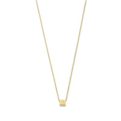 Isabel Bernard Le Carré 14 Karaat Gouden Kubus Initial ketting IB340043 (Letter: A-Z)