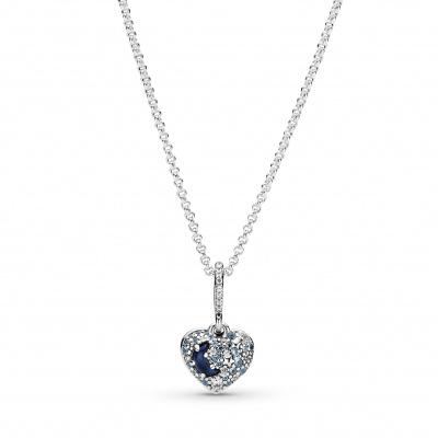 Pandora 925 Sterling Zilveren Sparkling Heart Ketting met Zirkonia En Kristal 399232C01-50 (Lengte: 50.00 cm)