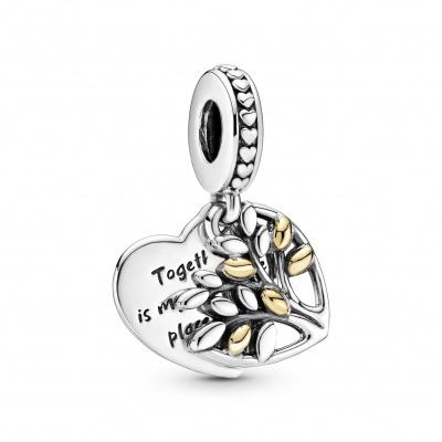 Pandora Family tree 925 Sterling Zilveren en 14 Karaat Gouden Bedel 799161C00