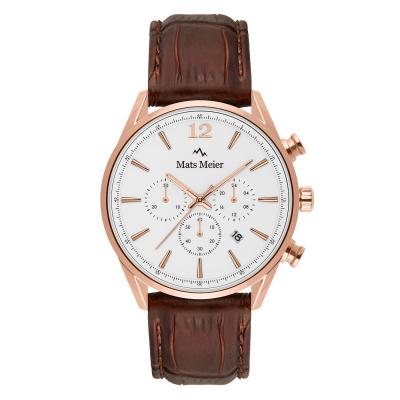 Mats Meier Grand Cornier Chrono Wit/Rosegoudkleurig/Bruin horloge MM00107