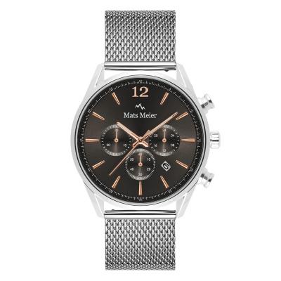Mats Meier Grand Cornier kronografklocka grå / silverfärgad MM00130