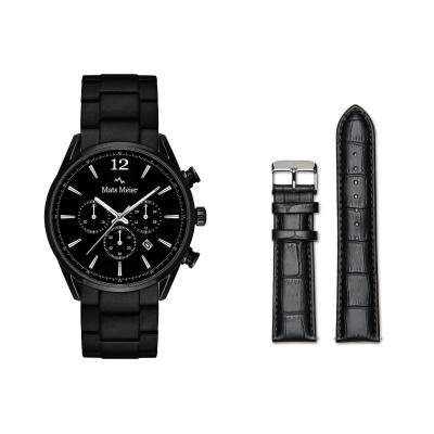 Mats Meier Grand Cornier Chronograaf Herenhorloge Zwart met Horlogeband Giftset MM90008