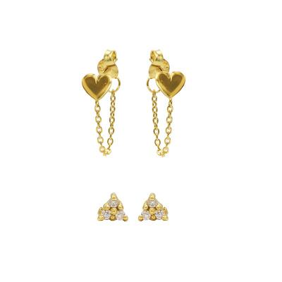 Karma 925 Sterling Zilveren Earparty Goudkleurige Chain Heart and Triple Dots Symbols Oorbellen