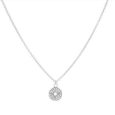 Karma 925 Sterling Zilveren Diamond Disc Ketting T224 (Lengte: 38.00-45.00 cm)